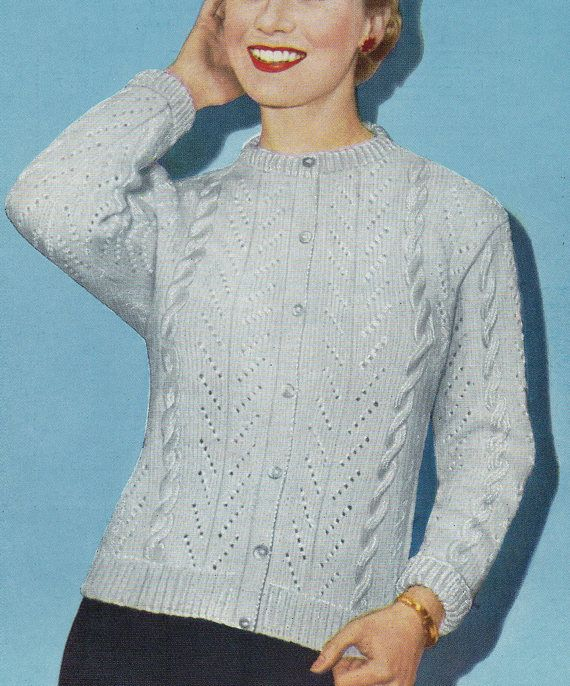 Ladies 40s 50s Knitting Pattern Vintage Cable Cardigan | knitting ...