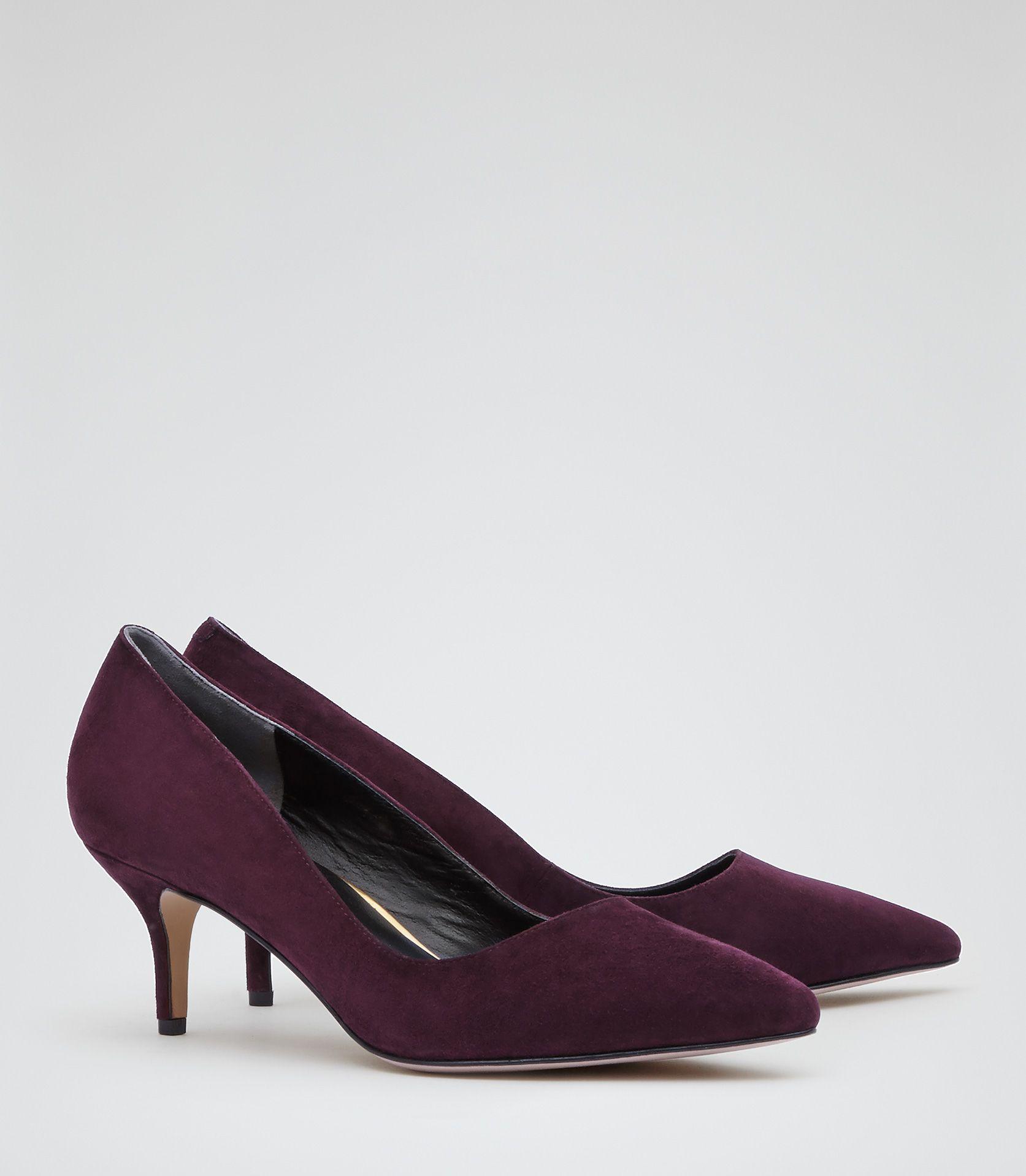 Womens Burgundy Kitten Heel Court Shoes - Reiss Holly | My work ...