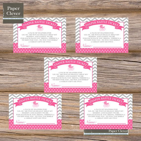 Baby Shower Diaper Raffle Ticket Vintage Any Colors, Carriage, Chevron  Stripe   Digital File