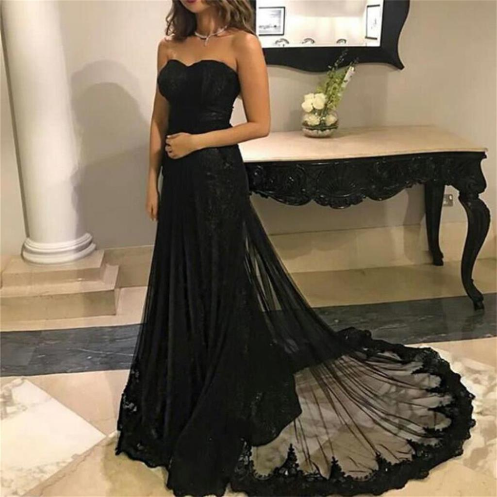 Black Lace Mermaid Charming Prom Dress With Train Sweetheart Simple Modern Prom Dresses Ma0057 Black Lace Prom Dress Prom Dress With Train Modern Prom Dresses [ 1000 x 1000 Pixel ]