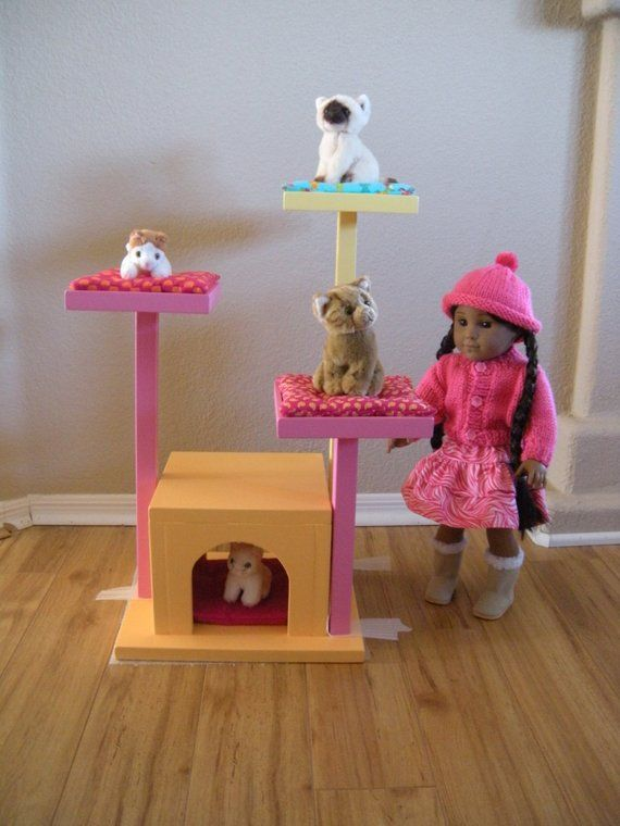 Items similar to Cat Tree Cat House Cat Bed for American Girl Doll Pets in Rainbow Colors #americangirldollcrafts