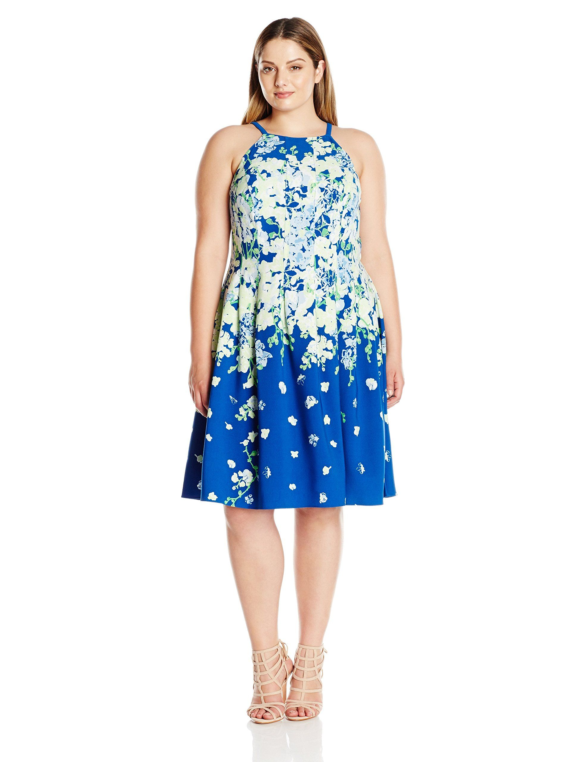 Adrianna Papell Womens Plus Size Garden Party Placed Floral Print