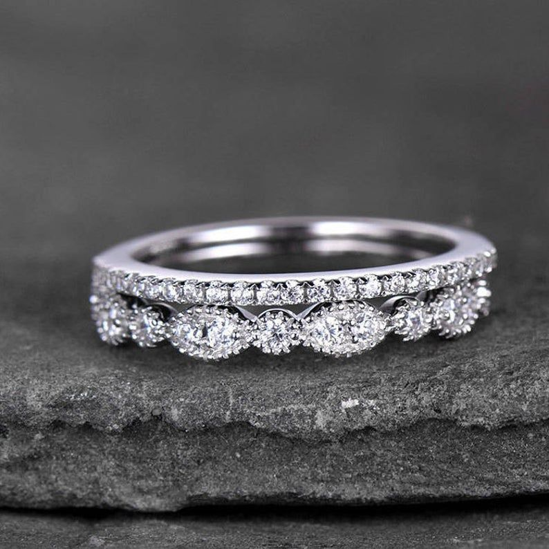Sterling Silver Ring Set Cubic Zirconia Wedding Band Cz Etsy In 2020 Cubic Zirconia Wedding Bands White Gold Rings Cz Wedding Rings
