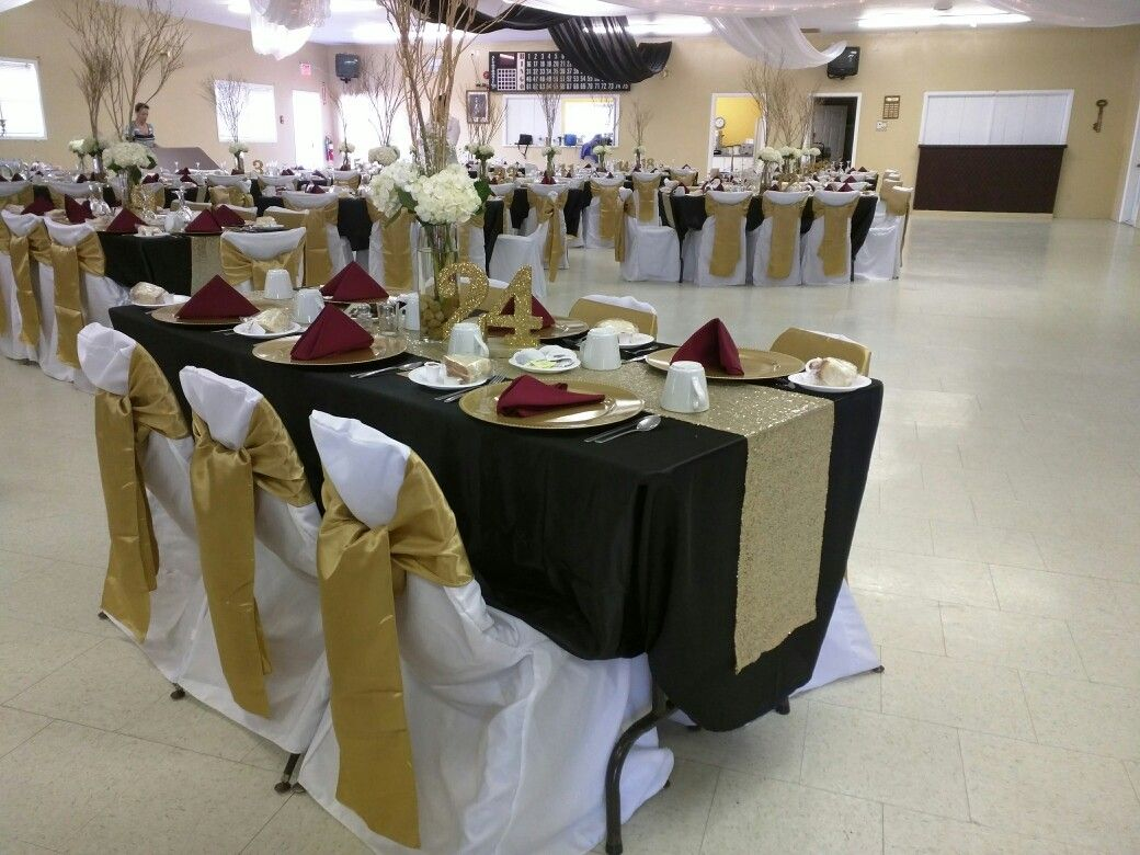 Antique Gold Sashes, White Chair Covers, Black Satin Table Cloth, Gold  Sequence Runner