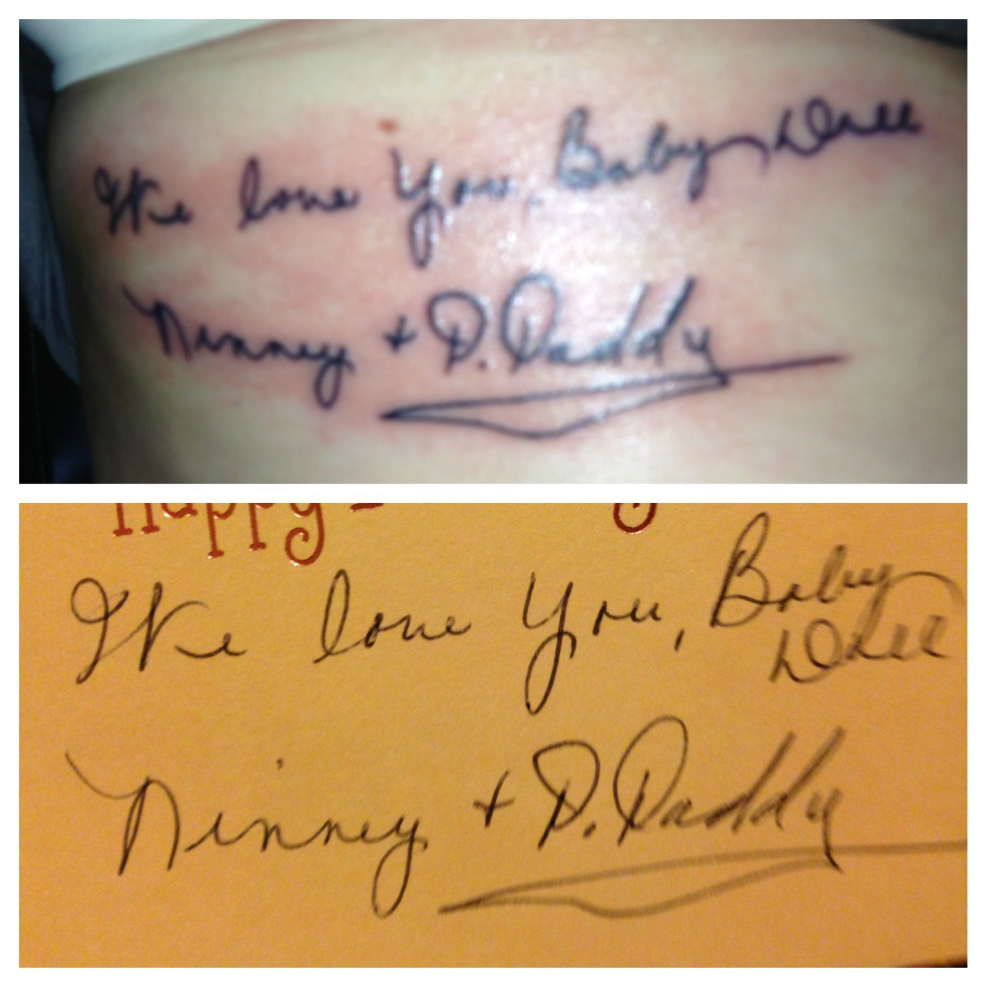 My newest addition- my grandpa recently passed away and this is a birthday card that he and my grandma signed. This is literally the most significant tattoo I will ever have.