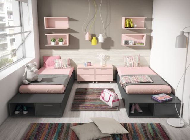 picture of chic and inviting shared teen girl rooms ideas 21 interiors bunk beds for kids in. Black Bedroom Furniture Sets. Home Design Ideas