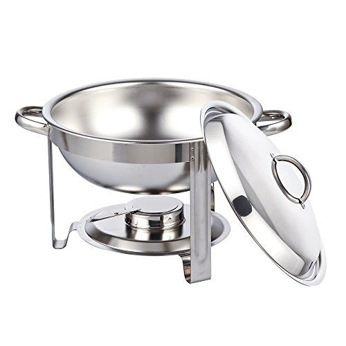 cook n home round chafing dish chafer with lid 5qt 5 quart