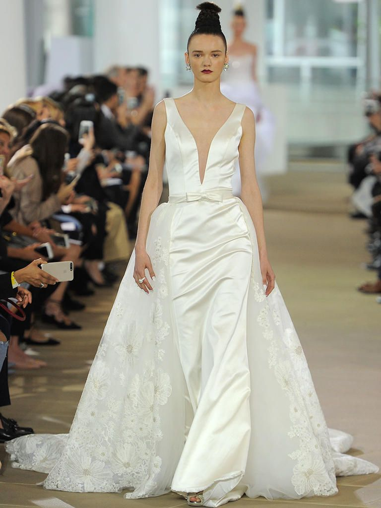Sheath Wedding Dress with Embroidered Cathedral Overskirt | Laura by Ines di Santo Spring 2018