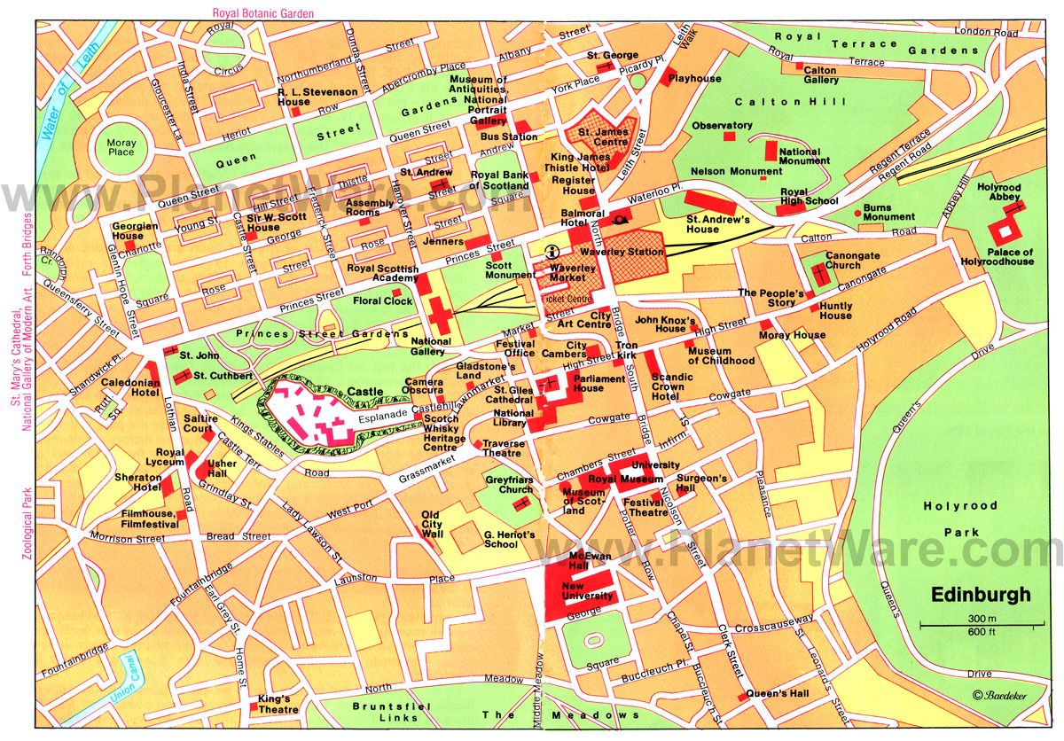 Map of Edinburgh Attractions PlanetWare Printable