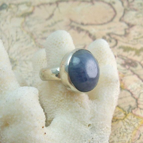 Blue Sapphire Cabochon & Sterling Silver Ring. $100.00, via Etsy.
