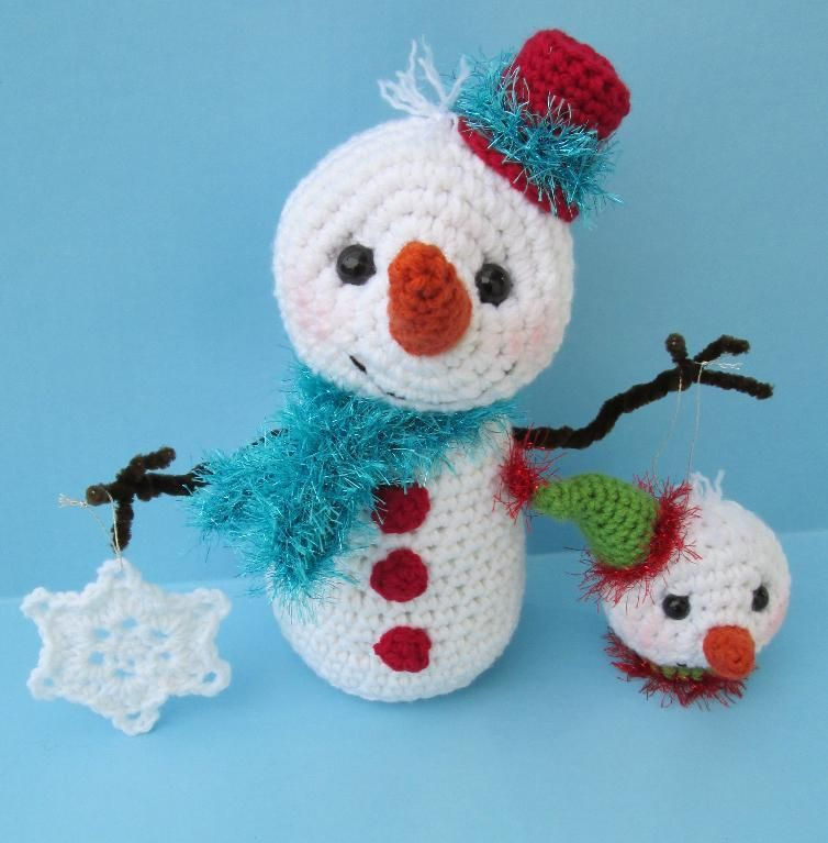 Cute Snowman With Ornaments Snowman Ornament And Crochet