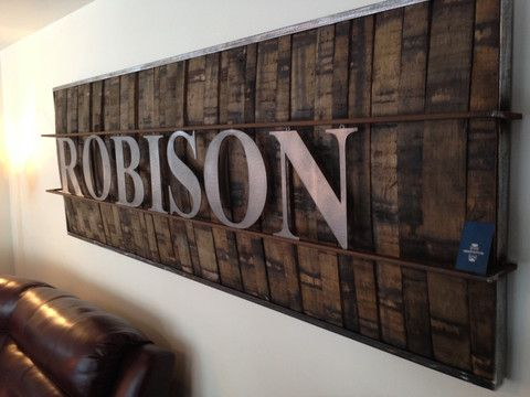 Rustic Wall Hangings artwork using barrels wood | oak whiskey barrels used for rustic