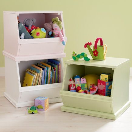 Kidsu0027 Toy Boxes: Kids Single Wooden Stacking Storage Bin In Toy Boxes