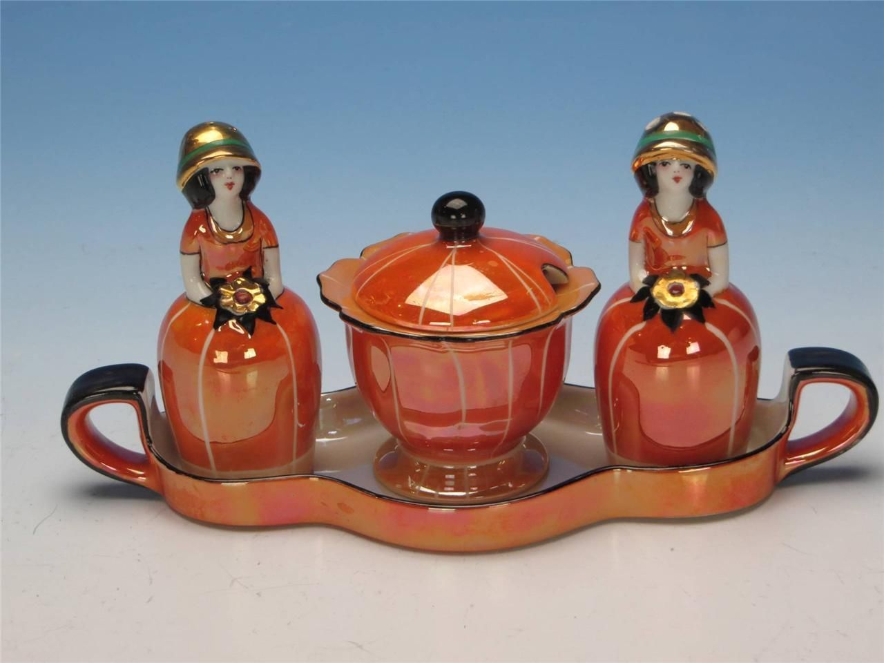 Noritake Art Deco Lustre Figural Condiment Set Salt Pepper Mustard