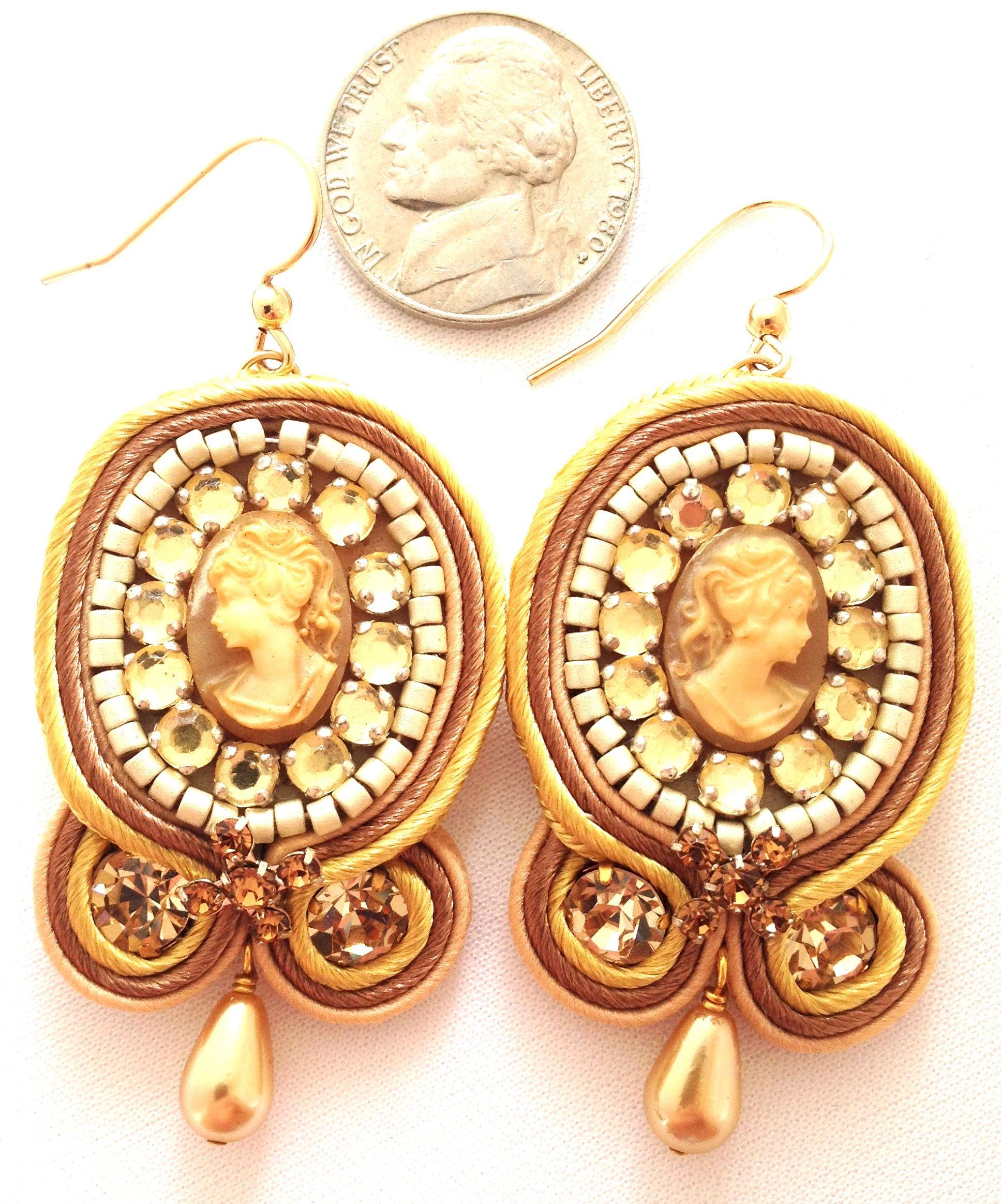 soutache jewelry | ... Soutache Jewelry / Soutache Earrings / Miss Barrett Cameo Soutache