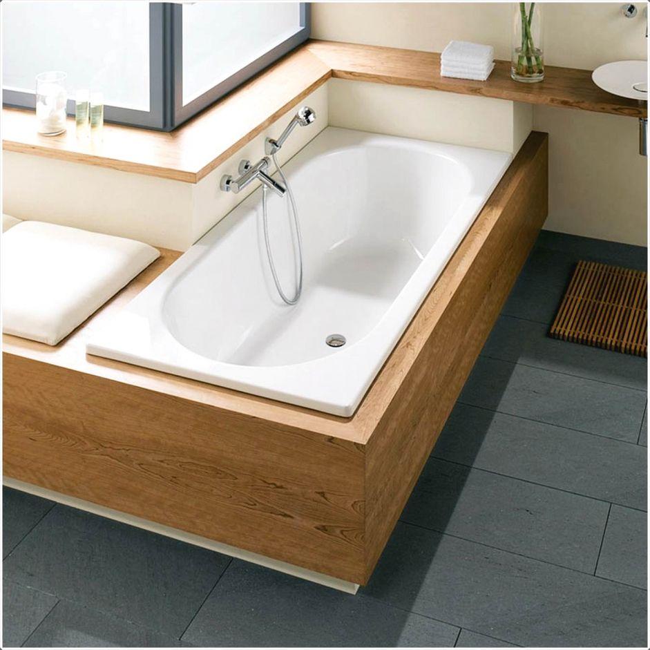 Innenarchitektur Kleines Badewanne Gefliest Holzoptik Badewanne