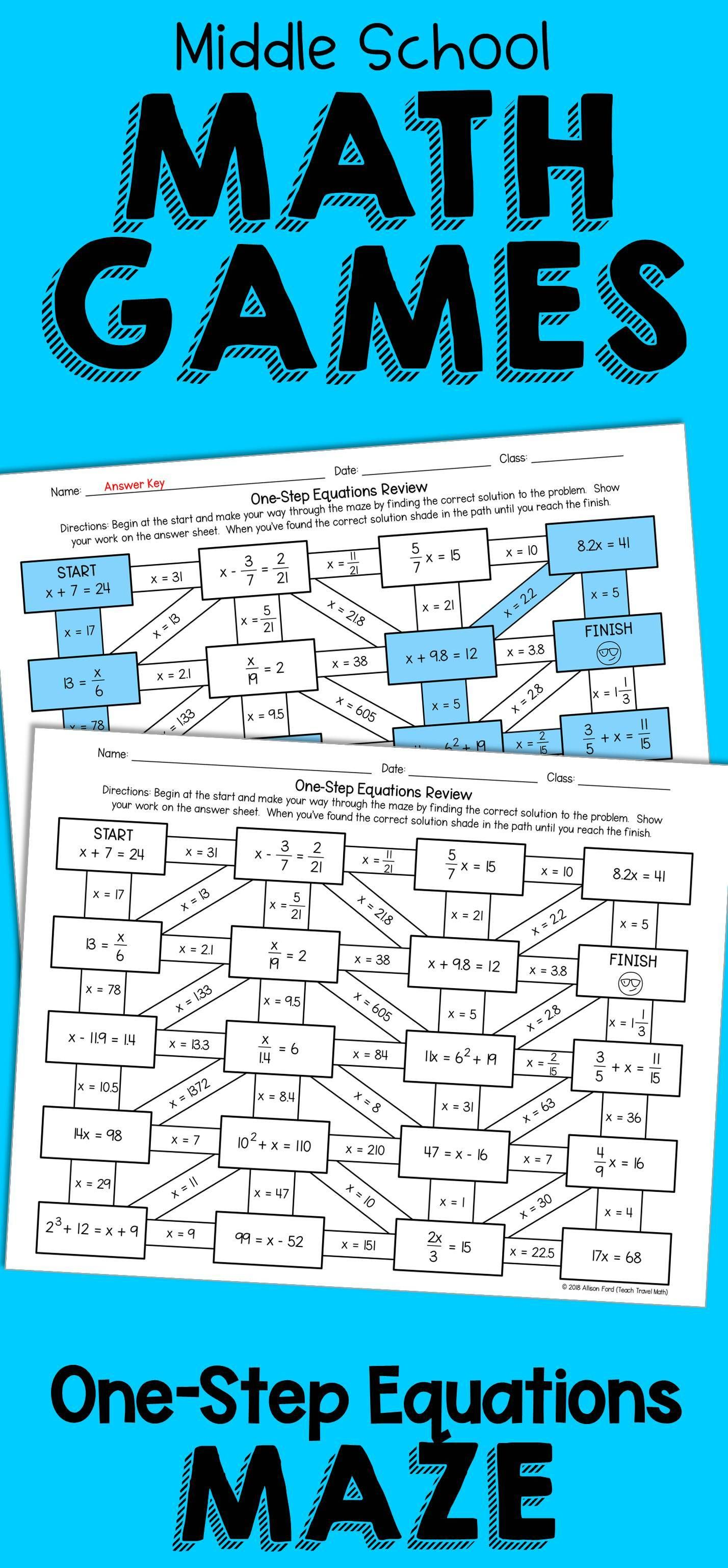 No Prep Worksheet One Step Equations Maze Activity Middle School Math Games One Step Equations Math Games Middle School Middle School Math One step equations with addition and