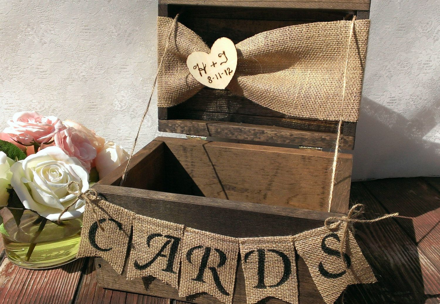 Burlap Banner Burlap Cards Banner Country Wedding Card Box Wood