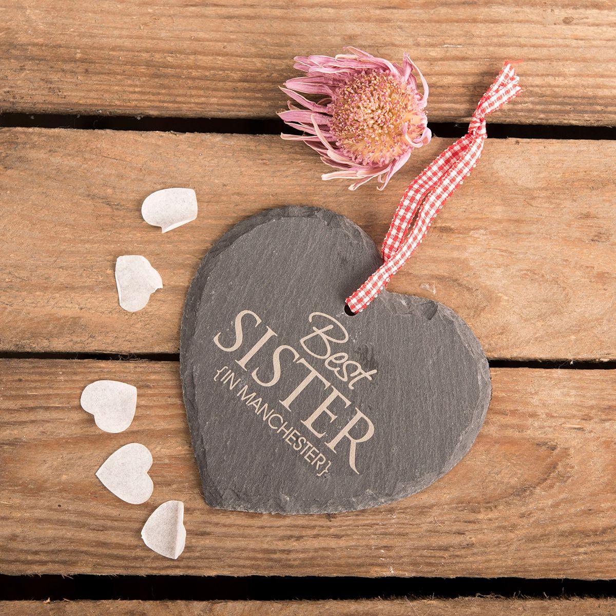 Personalised Heart Shaped Slate Hanging Keepsake Best