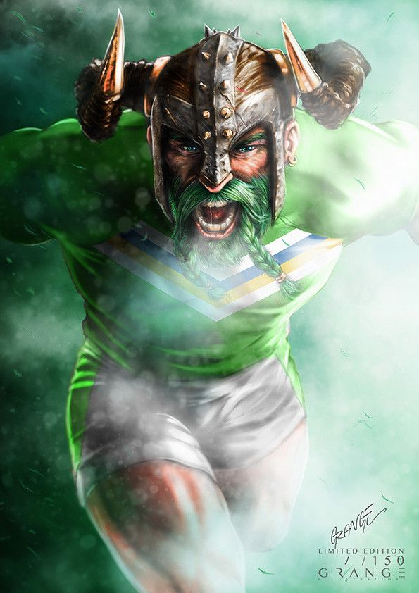 The Barbaric Viking Raider Print By Grange Wallis Rugby Logo Raiders Australian Rugby League