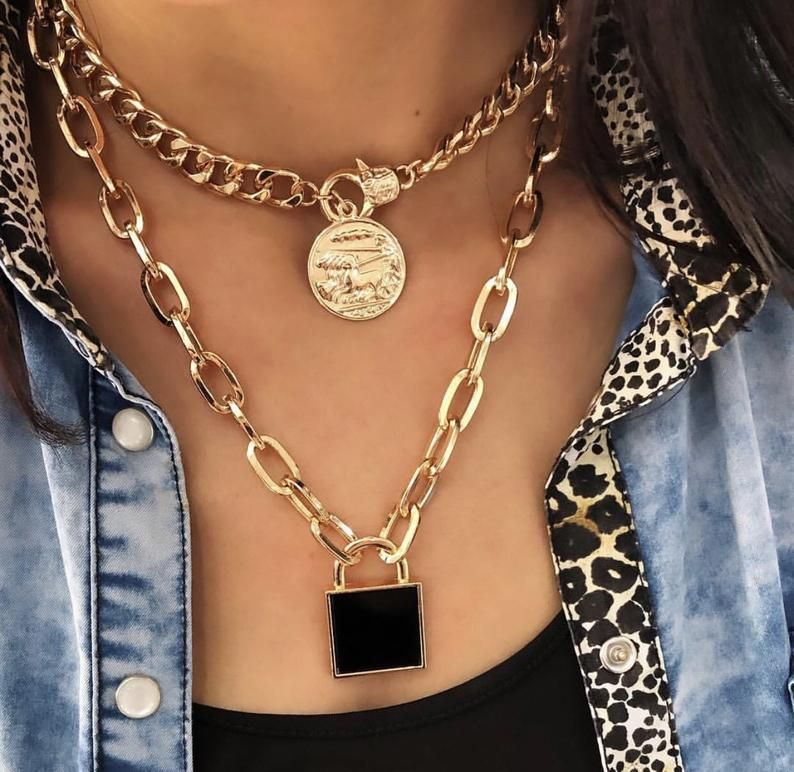 Lock Dizayn Necklace Crystal Accessory – Women Necklace Handmade Lock Crystal Design Wonder – New Trend Pearl Necklace / Locket Necklace