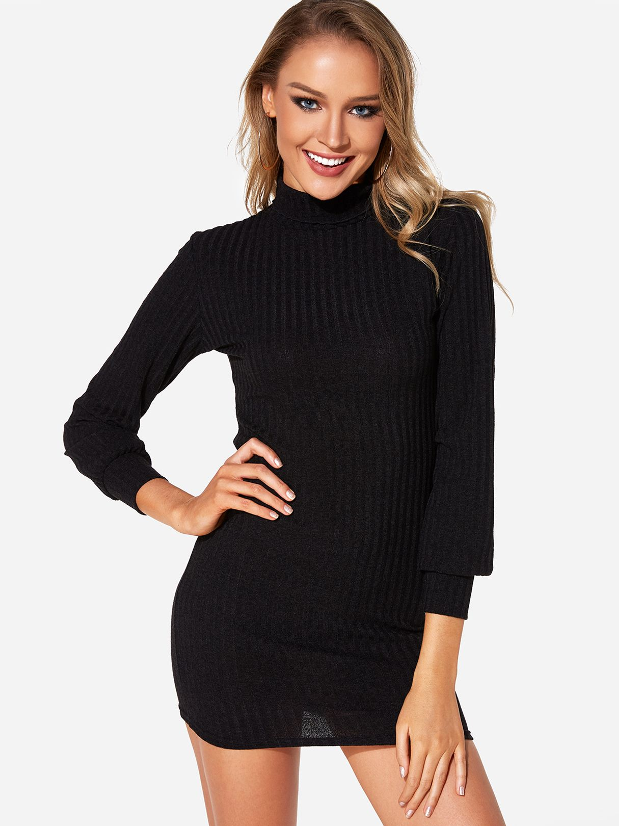 Black Plain Turtleneck Long Sleeves Sweater Dress - US 12.01 in 2019 ... 6518f4628
