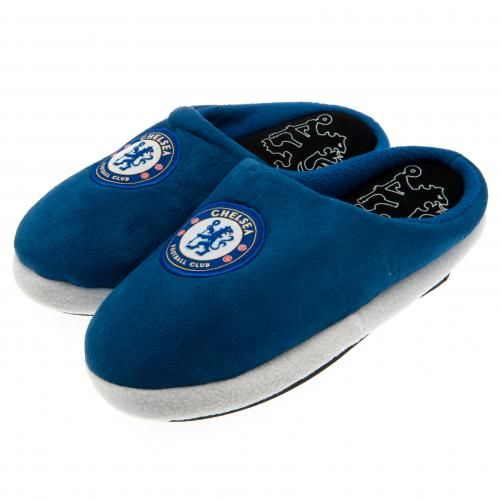861375f193cd CHELSEA FC Mule Slippers in club colours and featuring the club crest. Shoe  size 11 12 (UK) 45 46 (EU). Official Licensed Chelsea FC gift.