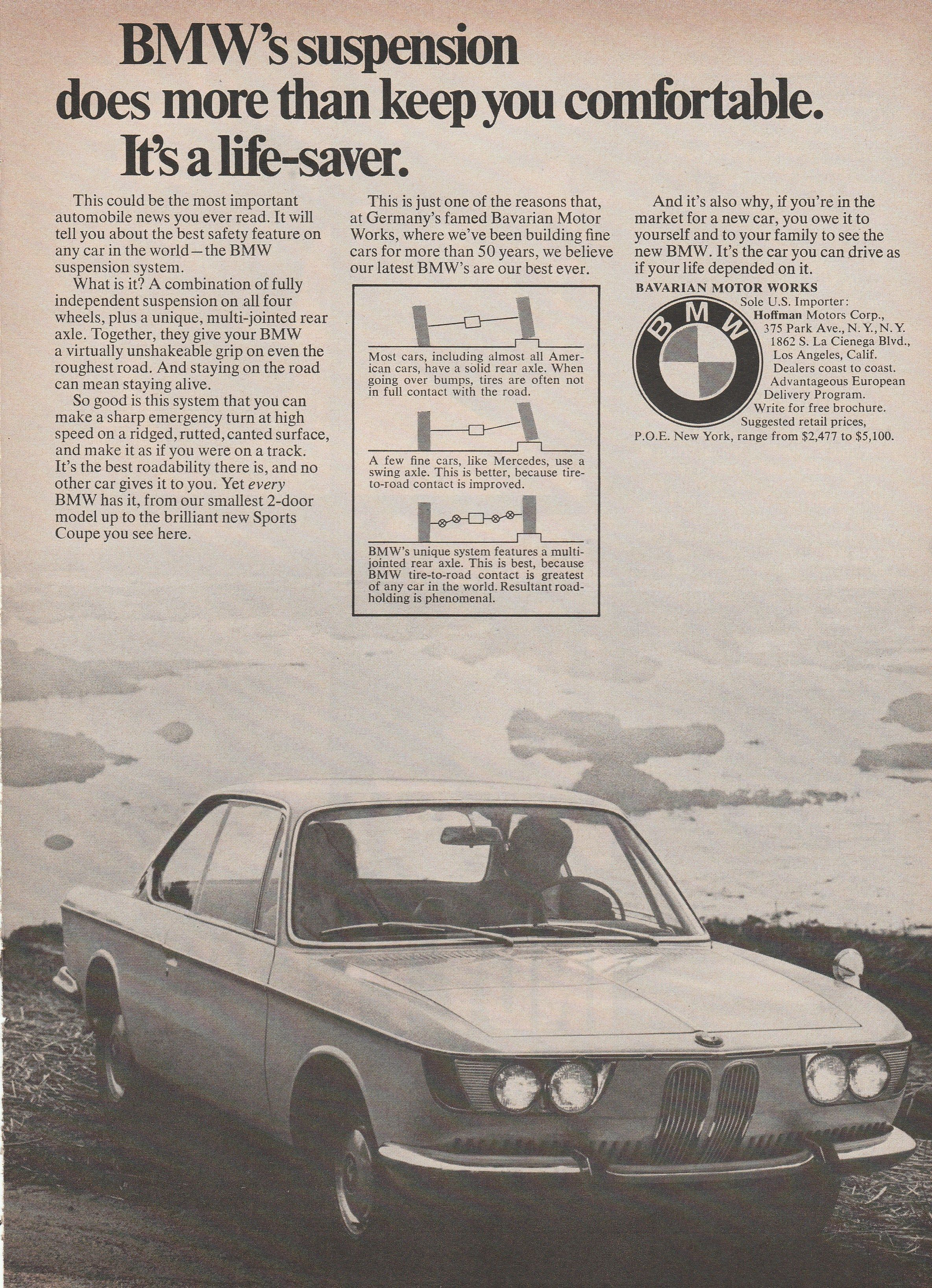 1965 1965 BMW 2000 suspension vintage ad BMW