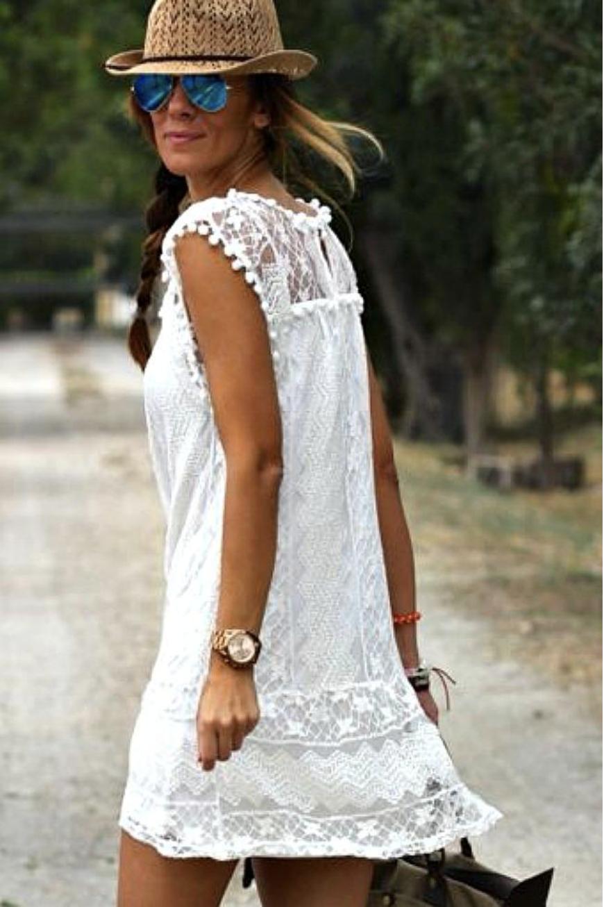 Chelsey Boho Fringe White Lace Dress Altitude Boutique Moda Estilo Bohemio Ropa De Moda Moda Estilo [ 1306 x 870 Pixel ]