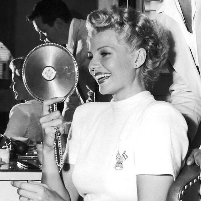 """Rita Hayworth, 1947. Good morning!! . Today is my last exam!!! Wish me luck xx"""