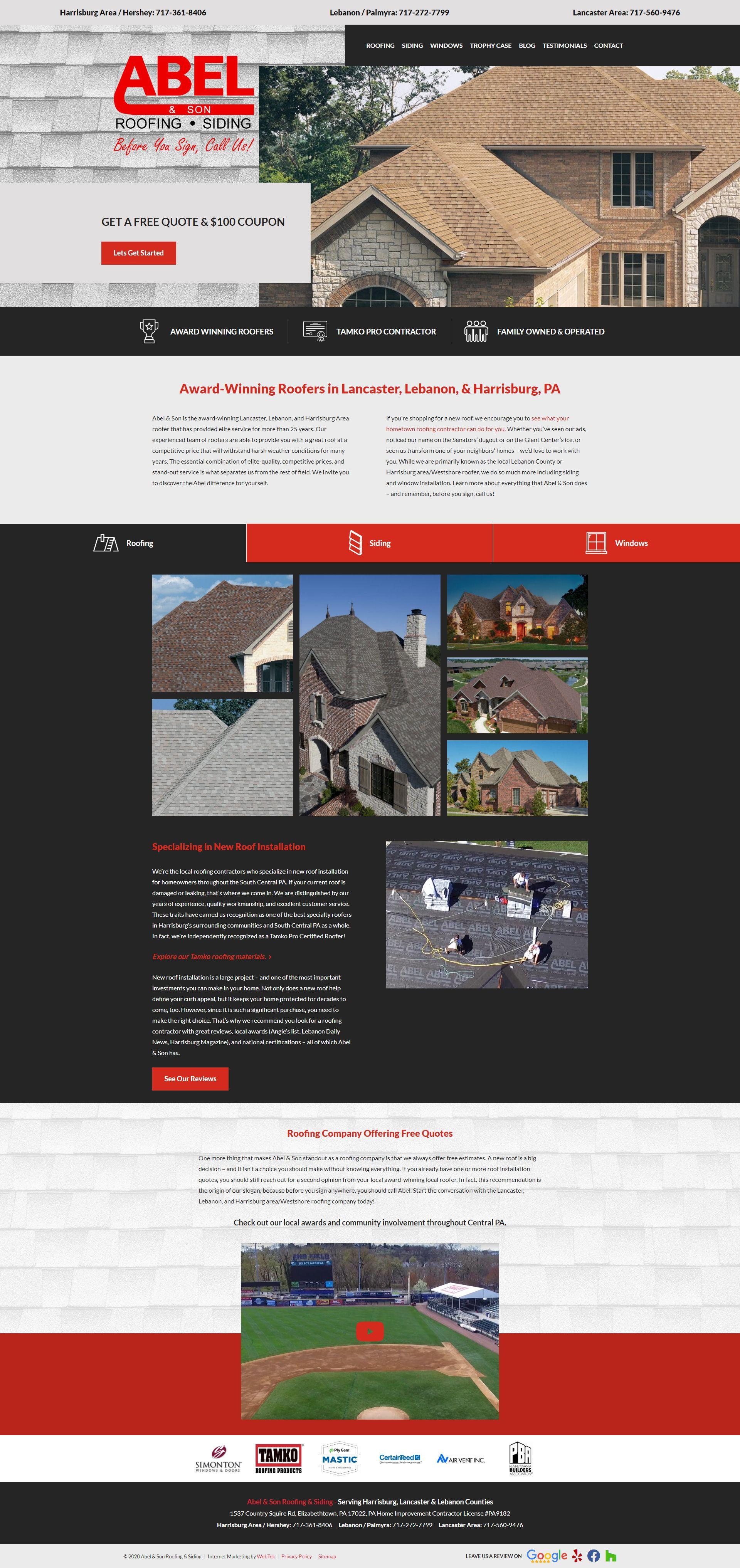 Web Design Elizabethtown Pa Roofing Contractors Building Free Quotes