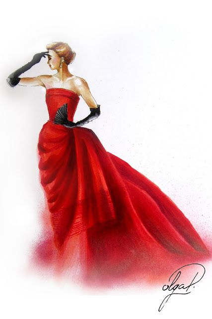 lady in red evening dress retro style vogue fashion illustration olga dvoryanskaya copic markers