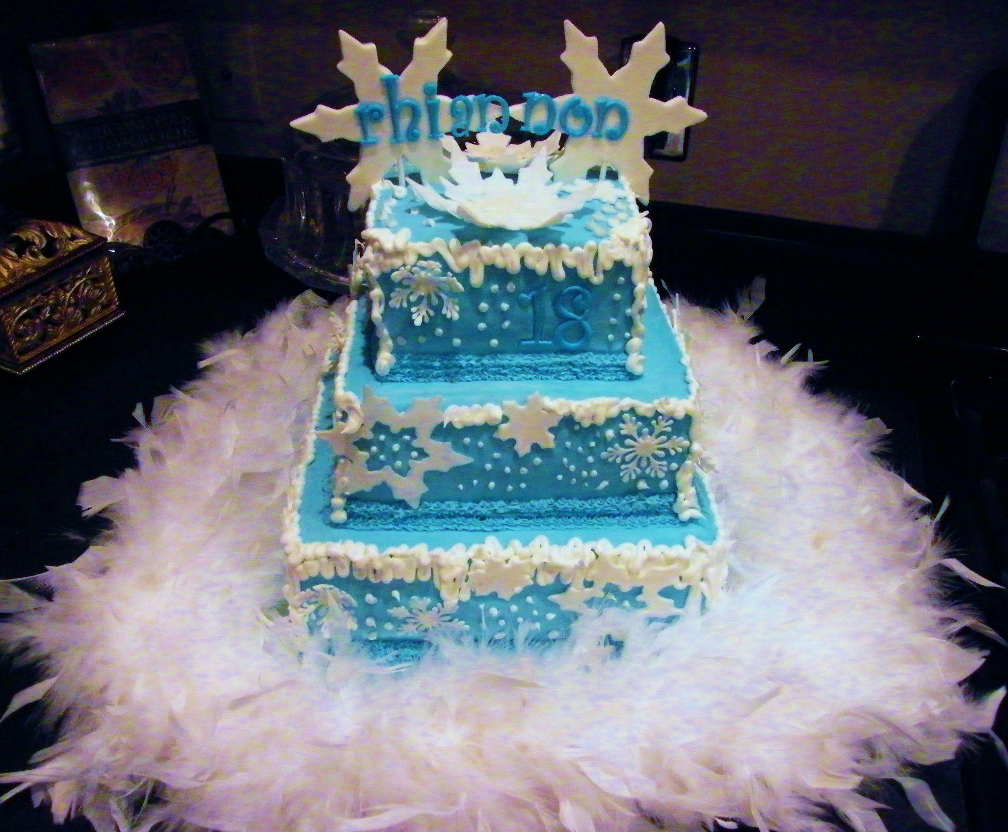 Snowflake Three Tier Birthday Cake For Winter Wonderland