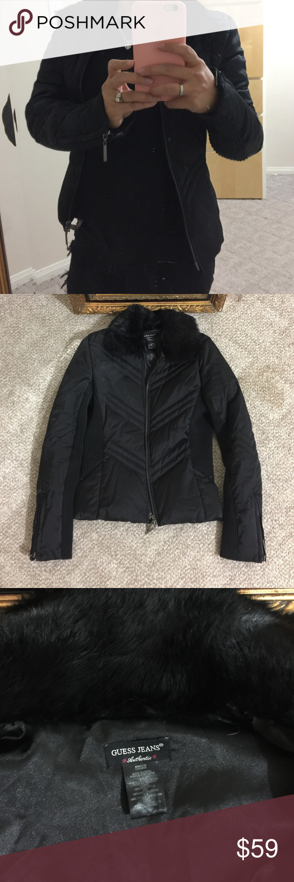 Guess fur puffer jacket GENTLY used in nearly perfect condition Guess Jackets & Coats Puffers