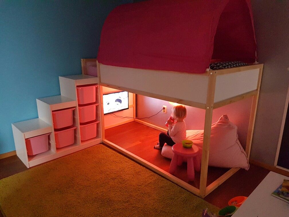 Playroom ikea kura bedtent trofast beanbag chambre for Futon kids room