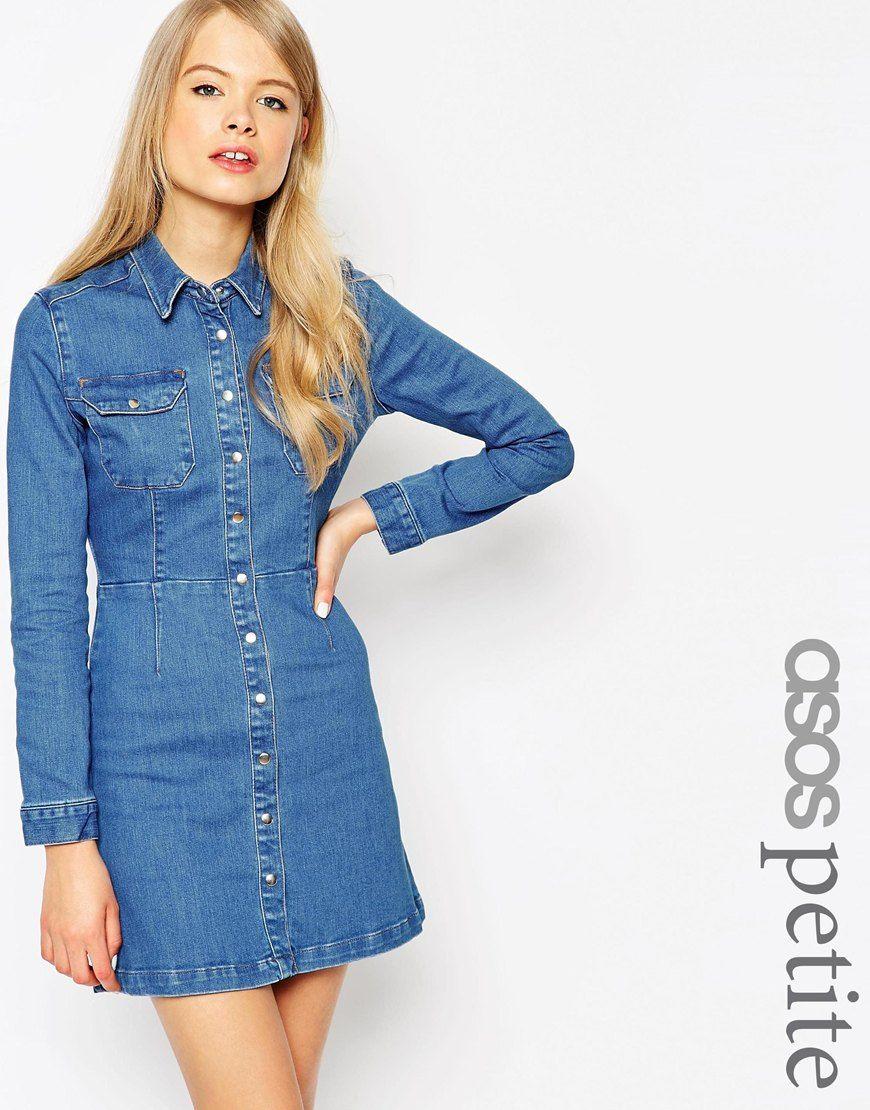 9d305f0893 ASOS PETITE Denim Western A-Line Shirt Dress