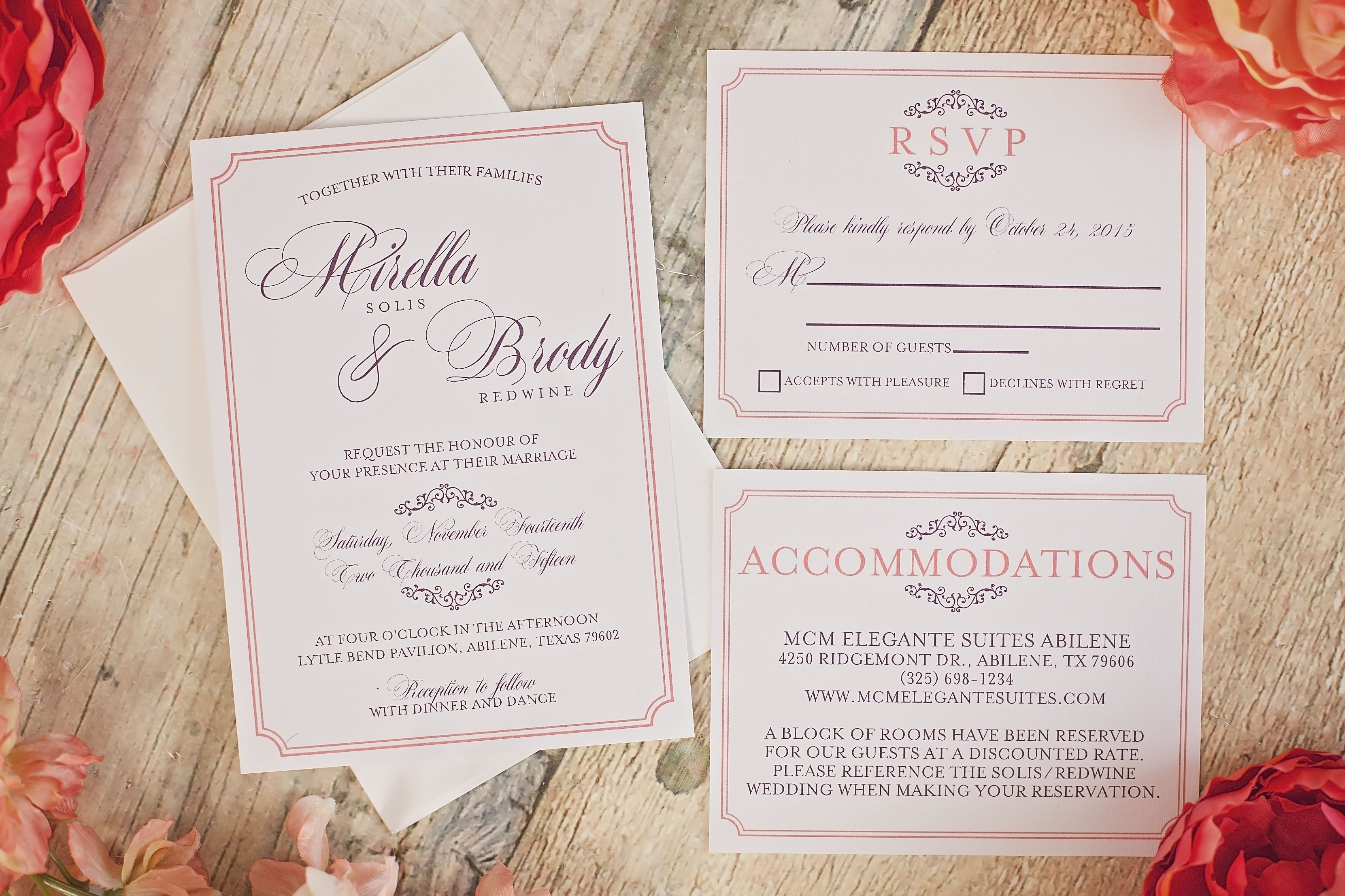 Elegant Plum And Coral Wedding Suite With Script Font And Scroll
