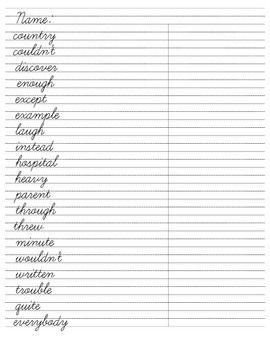 cursive word practice