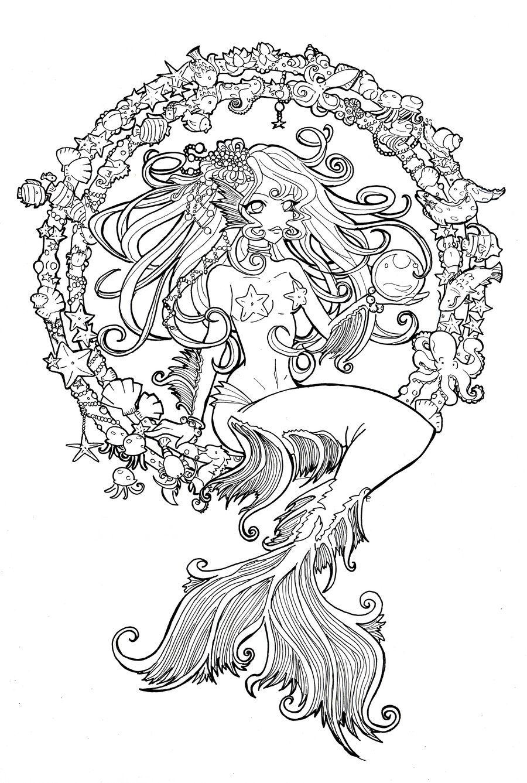 Cordelia Jewel Of The Sea Line By Namtia On Deviantart Mermaid Coloring Pages Mandala Coloring Pages Mermaid Coloring