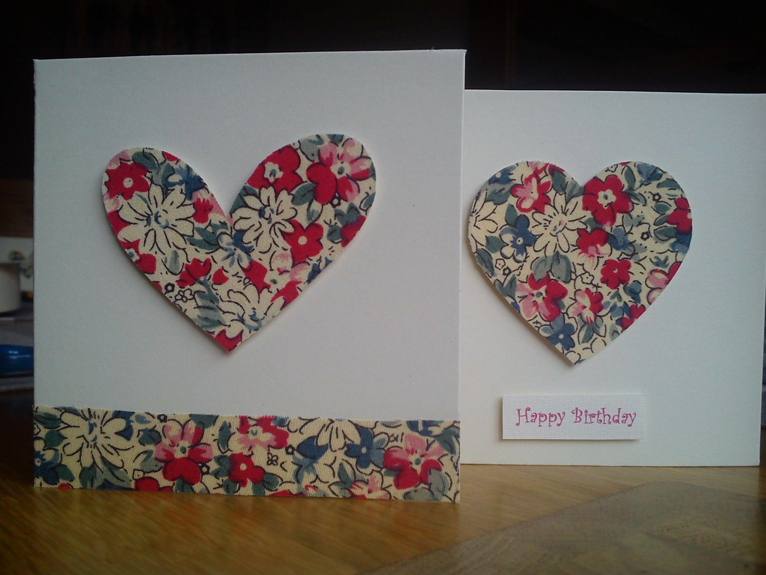 Handmade Fabric Heart Cards Fabric Greeting Cards Pinterest