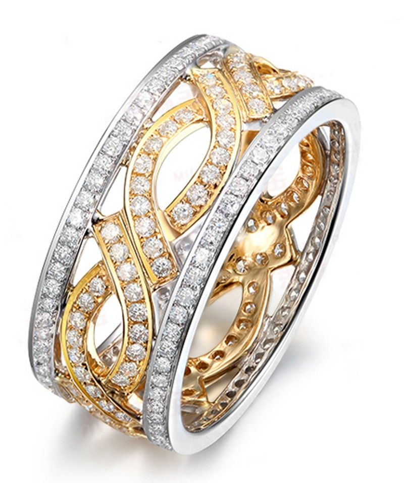 1 Carat Antique Diamond Wedding Ring Band In Two Tone White And Yellow Gold Jewelocean