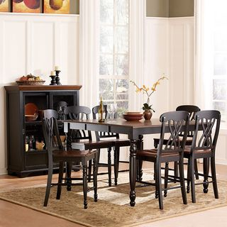 TRIBECCA HOME Mackenzie 7 piece Country Black Dining Table Set