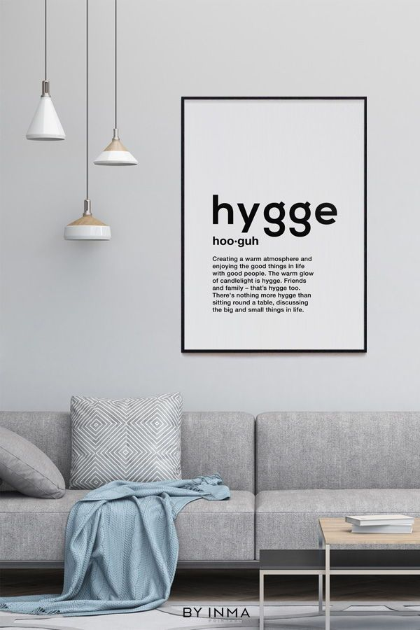 scandinavian typography wall art minimalist print hygge on hygge wall decor id=12392