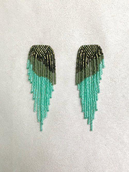 d6c16c4fa Beaded Fringe Earrings in Green. Handmade in Austin Texas by BETTY ALIDA.