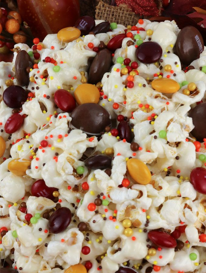 fall harvest popcorn sweet and salty popcorn covered with marshmallows and beautiful harvest blend m m s just for fun a great popcorn treat that is so