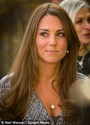 Bejewelled Tanned Kate accessorised her outfit with a diamond pendant and pearl earrings.  sc 1 st  Pinterest & Duchess of Cambridge dresses tiny bump in £298 MaxMara wrap dress ...