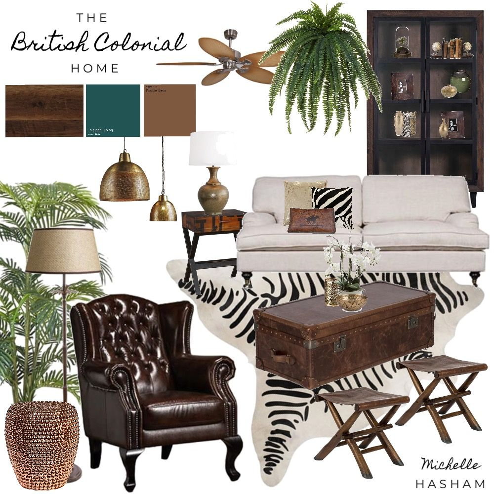 Pin By Michelle Schank On Home Decorating: The British Colonial Style Home Mood Board By Michelle