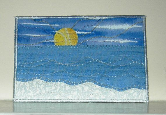 Beach Postcard Sunrise Quilted Fabric Postcard Art by SewUpscale, $12.00