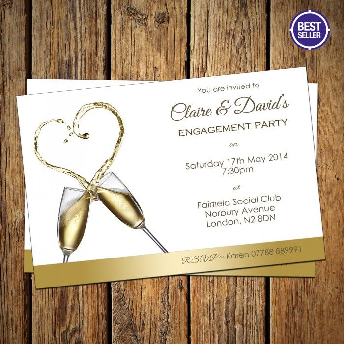 Engagement Party Invitations & Envelopes Champagne Heart