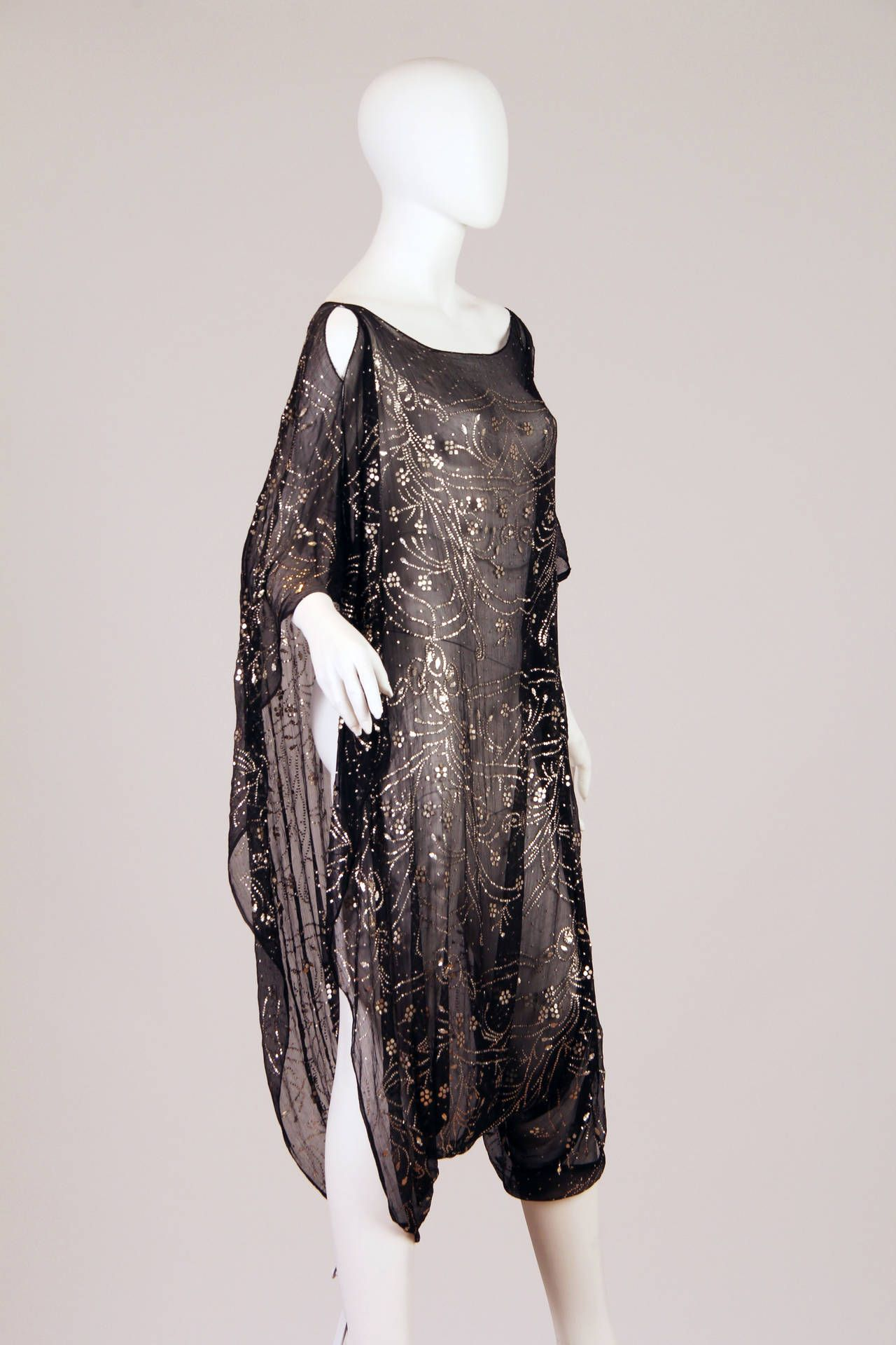 f1f3933bd2a8b Interesting 1920s Assuit Technique Silk Chiffon Tunic Dress from ...